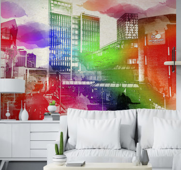 Thiscity wall muralshows the skyline of Cardiff with many colors in the foreground The colors on this image are very bright and a great decoration!