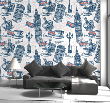 Create an international atmosphere with those typical symbols like flag, Big Been or phone box on this London wall mural. Matte finishing!