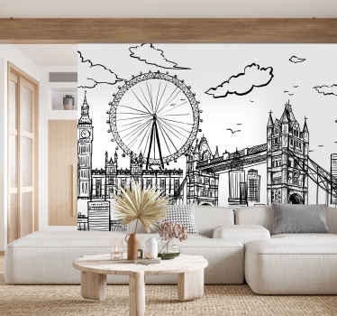 This London wall mural shows the skyline of London in a black-and-white drawing The architecture and design on this image are stunning!