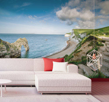 Transform your interiors completely with this stunning landscape wall mural showing this stunning coastline in England in Durdle Door.