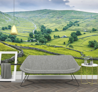 Decorate your home's walls with this beautiful landscape wall mural with views of England's green meadows. Easy to apply.