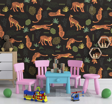 This beautiful wall mural shows imaginations of tigers taking different positions, especially to make your children happy!