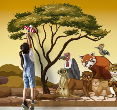 This beautiful wall mural shows images of Jungle animals that are cozy close together and beautifully depicted. This is especially for your children.