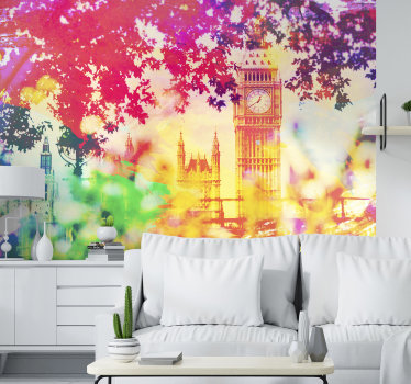 Magnificent London wall mural of an image of the city of London painted in watercolor perfect for decorating  your home. Easy to apply.