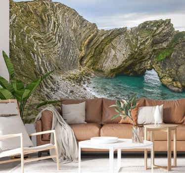 A city cove  wall mural created with the huge scenery view of the cove near the village of west Lulworth. This design is amazing to beautify your home.