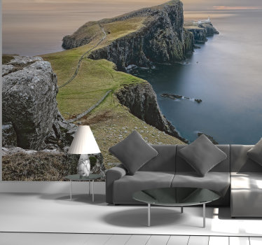 Natural landscape scenery wall mural design created with rock across the sea and a land on the other side. This  will beautify your home with class.