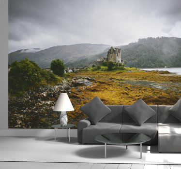 A natural landscape of rock with castle wall mural that you will love to decorate your home with. This design is easy to apply and you can chose  size.