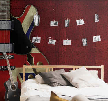 Large music wall mural design that is created with music notes and large guitar in red colour. This design will make a large impression in you home.