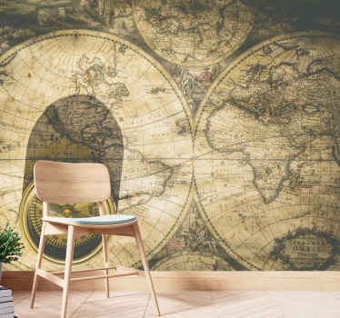 A large world map wall mural design created with the huge appearance of a world map in brown colour that will create an amazement in your home.