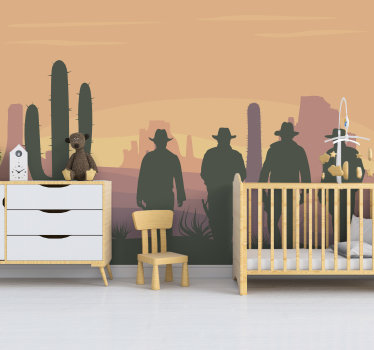 A desert landscape wall mural design created with the silhouette of the wild west personalities and the typical 