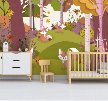 Un fotomural para niños de bosque con animales con el que puedes decorar tu hogar. Este diseño es de muy alta calidad y fácil de aplicar.