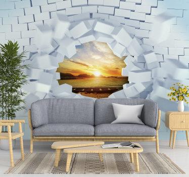 Upea trompe-l'oeil -valokuvamaalaus, jossa on valkoinen tiili. Mittatilaustyönä valmistettu tuote, joka näyttää hyvältä kodissasi.