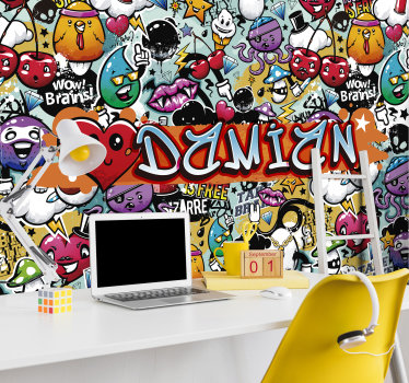 Do you like urban art? If so, this photo mural of urban art customizable with the name you want is what you're looking for.