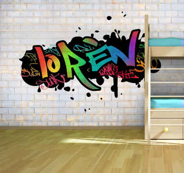 Colorful photo wallpaper of a graffiti design on a stone wall. Decorate the empty walls with our urban art wall murals and you will like it!