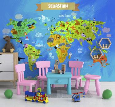 Este mural infantil de pared del mapa del mundo con varios animales en él. ¡Es muy educativo y agradable al mismo tiempo! Haz felices a tus hijos