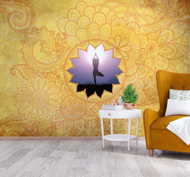 Fotomural mandala amarillo con imagen personalizable para que disfrutes de una decoración única con tu propia foto. Fácil de colocar.