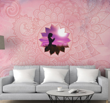 Questo rilassante fotomurale colore rosa mandala zen è tutto ciò che vuoi in casa tua! Trova la tua pace interiore con questo meraviglioso murale.