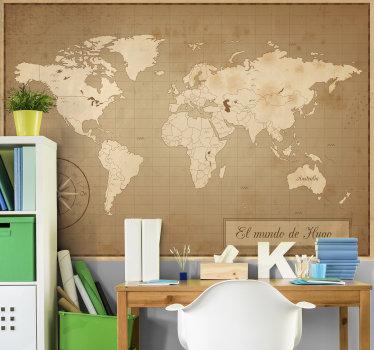 Fantástico fotomural vintage mapamundi con brújula y nombre personalizable para que decores tu dormitorio a tu propio gusto. Fácil de colocar.