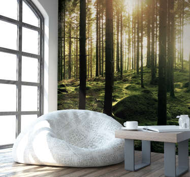 Had a stessful day? Escape to your own hideout in the forest in the comfort of your own home with this forest wall mural