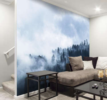 Escape to your own perfect forest with this forest wall mural. There's nothing more peaceful than gazing over the treetops of a forest, covered by fog