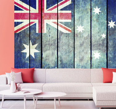 This beautiful mural of an Australian flag in a Wood Texture looks great in your living room or even in your bedroom. It's