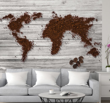 World is all about coffee. We do agree and this textured wall mural is showing the design of continents made out of grinded coffee.