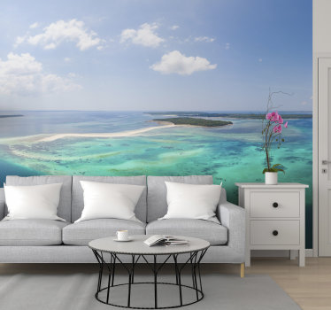 This sea photo wall mural shows a beautiful coral reef in the ocean, photographed from above The colors on this image are very bright and beautiful!