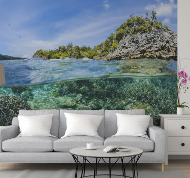 Thisocean wall muralshows a photograph of a coral reef in the ocean but in the profile The colors on this image are very bright and perfect for you!