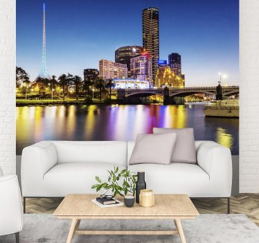 High quality city wall mural showing the beauty of Melbourne and its rivier during the night. Look at those vivid colours!