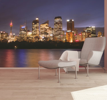 With this city wall mural, you will have a night view of one of Australia's most famous cities, which will give your home a unique decoration.