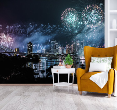 Decorate your home's walls with this spectacular city wall mural with a view of Sydney's city lit by fireworks. Perfect for your living room.