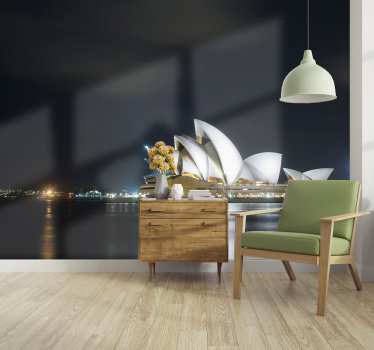 Beautiful Sydney opera house night classic art wall mural.   It comes in rolls where you can select the size you want. Don's miss this!