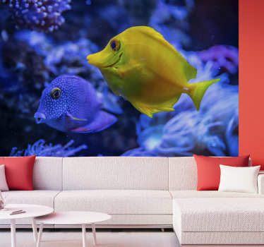 Aquatic wall mural with yellow and blue beautiful fishes., which will look spectacular in the living room and even the bedroom.
