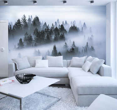 A blanket of fog covers a stunning forest in the most mystical and stunning way. Decorate with this forest wall mural to add that final touch