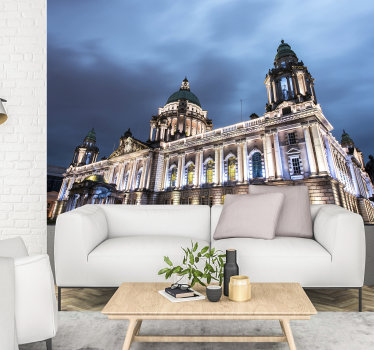 With this city wall mural of Belfast's City Hall you will be able to enjoy a unique view of that building at any time of the day.