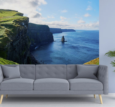 A Hereby you get a beautiful photomural of the Cliffs Moher Landscape. Here is a beautiful clear blue water area, which would brighten up your home.