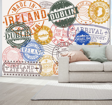 You love to travelYou love to travel or are just a fan of the beautiful country of Ireland? Our photo wallpaper with different Irish stamps is for you