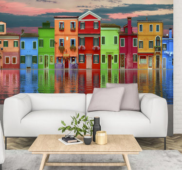 On this large wall mural you get to see a nice view of a row of colored houses next to each other. If you like colorful houses then this is for you.