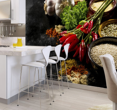 Spice up your kitchen, literally! This easy way of decorating your home is possible with our modern 3d Mural wallpaper. Best quality you can find!