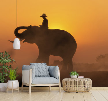 Haal een deel van Thailand bij u thuis! Deze prachtige lounge muurschildering met een aziatische olifant voor de zonsondergang is precies wat je nodig hebt.