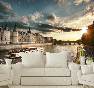 ¿Te encanta París y te atrae un viaje en barco por una de las ciudades más famosas del mundo? ¡Entonces este fotomural pared de París con el río Sena es para ti!