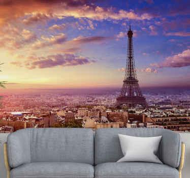 Genießen sie aus der luft einen herrlichen blick auf den eiffelturm in paris. Diese Fototapete der pariser karte ist eine handvoll, die nur von ihrem raum aus zu sehen ist.