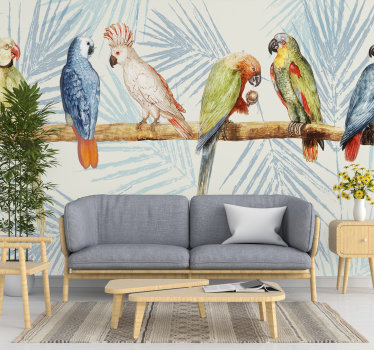Make your home a better one with this beautiful wall mural of coloured parrots on a tree trunk next to each other design.
