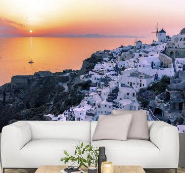 Questo fotomurale della città di Santorini al tramonto può essere montata in qualsiasi stanza della casa. Non aspettare oltre e ottieni questo design! Lo amerai!