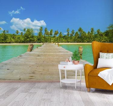 Breng de tropisch warm aanvoelende fotobehang op zee in je huis met deze fotobehang met felle kleuren. Het is heel gemakkelijk aan te brengen