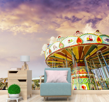 A beautiful reproduction of a vintage carousel lounge wallpaper photo with an extra emphasis on the clouds that are beautifully depicted.