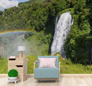 Piękna fototapeta z wodospadem przedstawiająca piękny zielony krajobraz z cudownymi drzewami. Zamów online!