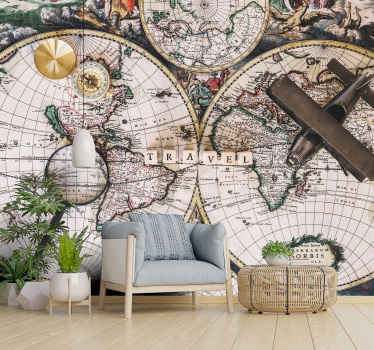 A large wall mural with a vintage look and surrounded by signs from history. Don't wait any longer and decorate your house with this great design!