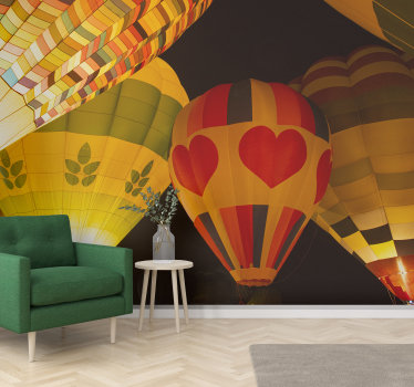 A nice lounge photo wallpaper of some vintage hot air balloons flying away at night. Make your home better with this beautiful vintage design.