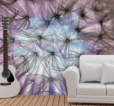 Amazing flower wall mural of a dandylion seen from the its interior. A very colorful image that will look great in your living room.